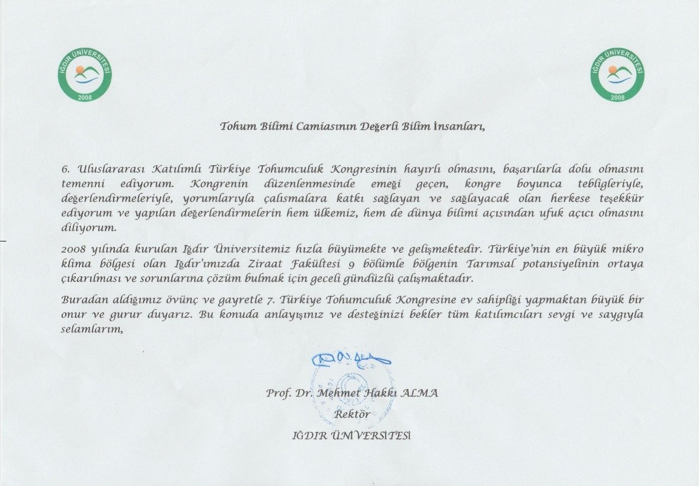 7. Türkiye Tohumculuk Kongresi Üniversitemizde Gerçekleştirilecek