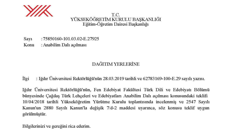 Üniversitemizde Çağdaş Türk Lehçeleri ve Edebiyatları Anabilim Dalı Açıldı
