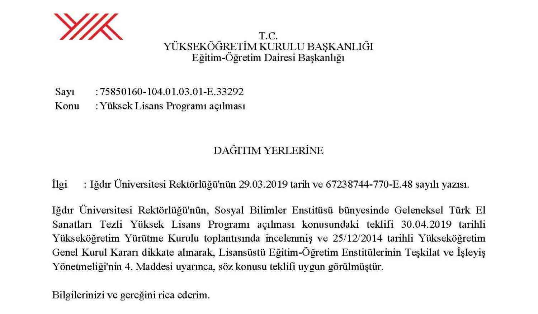 Geleneksel Türk El Sanatları Tezli Lisansüstü Programı açıldı