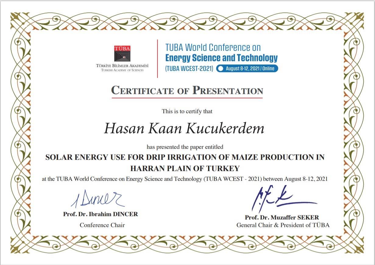 Türkiye Bilimler Akademisi Enerji Bilimi ve Teknolojileri Konferansı (TUBA WCEST-2021)