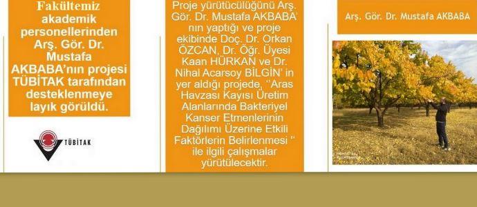 Iğdır Üniversitesi Ziraat Fakültesi Arş. Gör. Dr. Akbaba'nın Projesi TÜBİTAK Desteğine Layık Görüldü